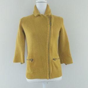GAP • Mustard Yellow Moto Style Zip Sweater